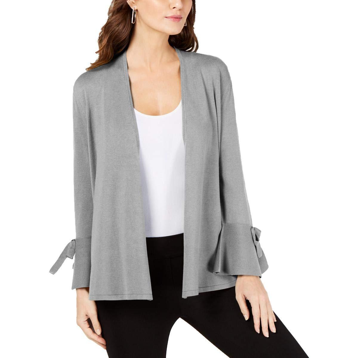 Alfani Womens Tie Sleeves Open Front Cardigan Top