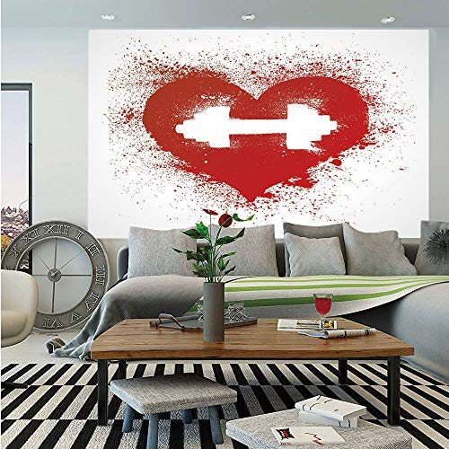 Fitness Huge Photo Wall Mural,Red Heart Icon with Stains Splashes and Dumbbell Grunge Artistic Love Design,Self-Adhesive Large Wallpaper for Home Decor 100x144 inches,Red and White