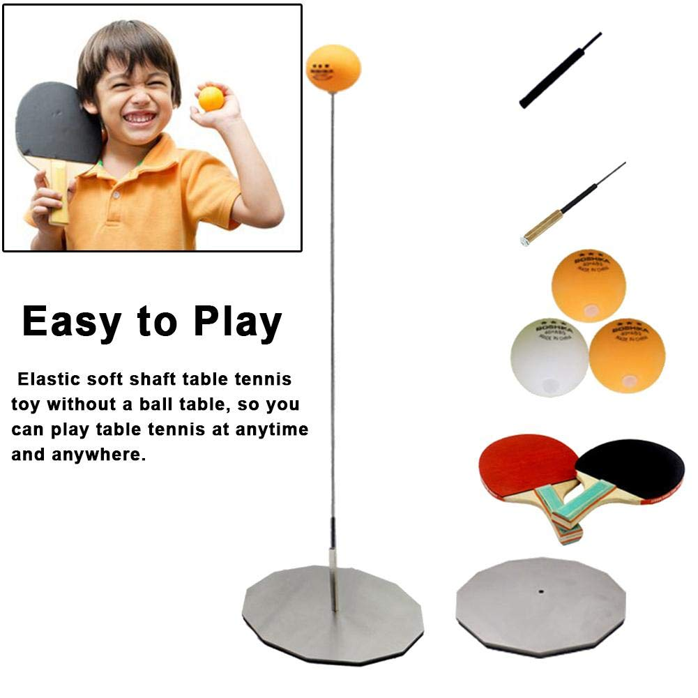 weemoment Table Tennis Rebound Trainer, with Elastic Soft Shaft Ping Pong Training Tools, Kids Trainer Eyesight Exercise, Single Training Helper, Home Family Leisure Sports Toy Everybody by weemoment