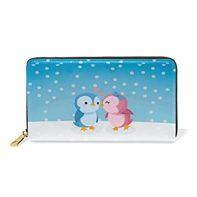 34776a94c3e912 Image Unavailable. Image not available for. Color: Women Genuine Leather  Wallet Love Penguine Zipper Purse Girl ...