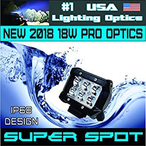 "#1 2x 4"" USA Lighting Optics TM 18W 6 CREE LED Brightest on the Market! SUV Off-road Boat Headlight Spot Driving Fog Light + Mounting Bracket Beware of Fakes"