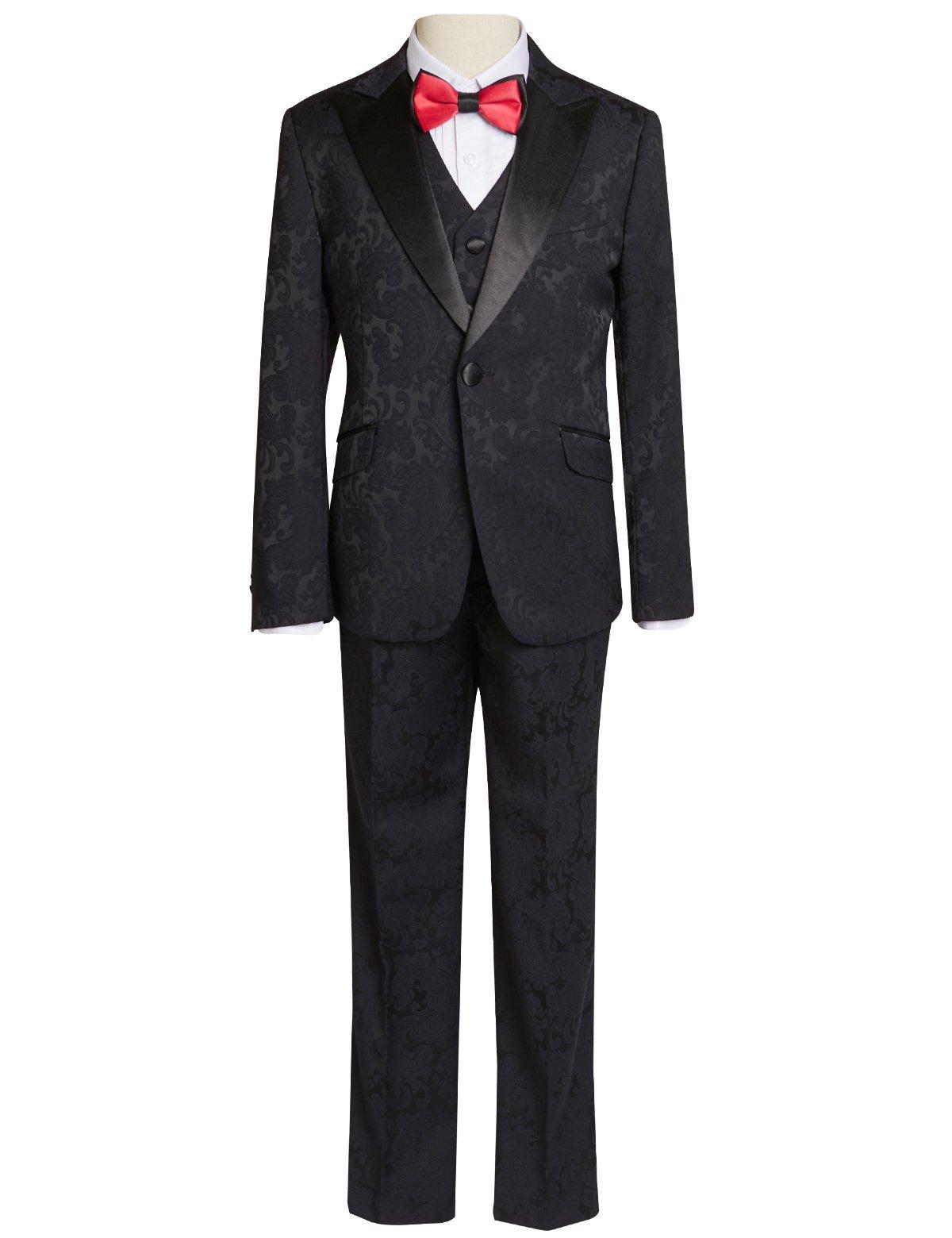 ELPA ELPA Boy Suits 5 Sets Wedding Host Graduation Black Print Boys Slim Fit Suit