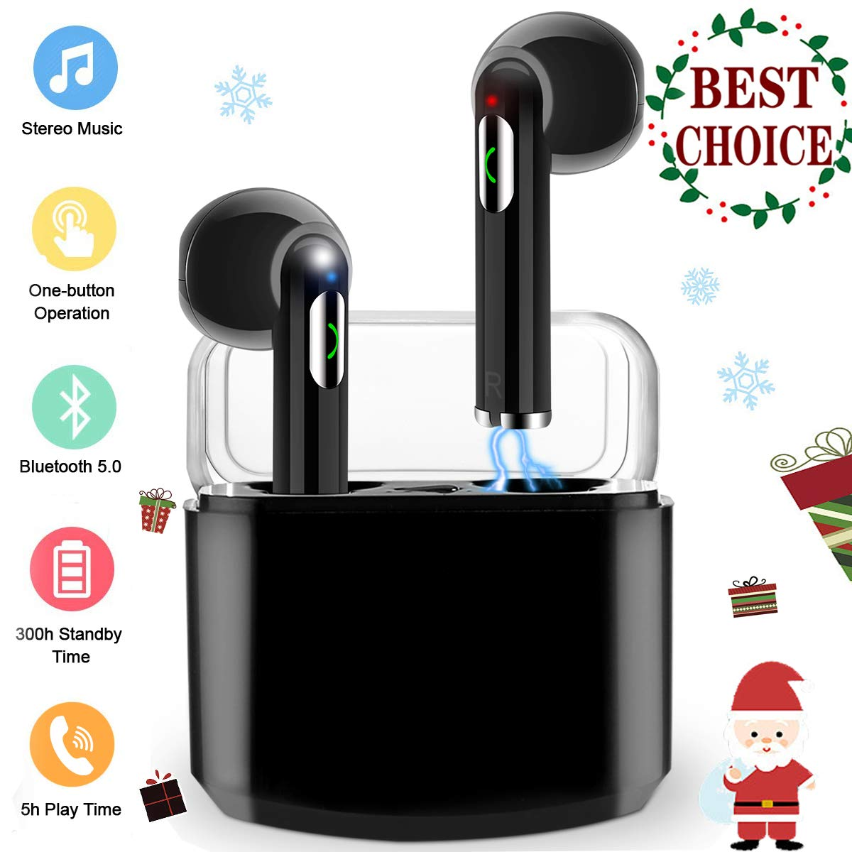 Wireless Earbuds,Bluetooth Headphones TWS Stereo Wireless Earbuds with Charging Case Mini Bluetooth Earbuds with Microphone Sports in Ear Wireless Earphones Bluetooth Headset for Work Running Travel