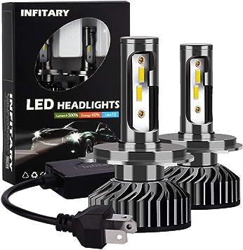 INFITARY-H4 9003 HB2 LED Headlight Bulbs Hi//Lo Beam 10000LM Super Bright 72W 6500K High Low Fog Light Plug and Play IP67 Waterproof 1 Pair