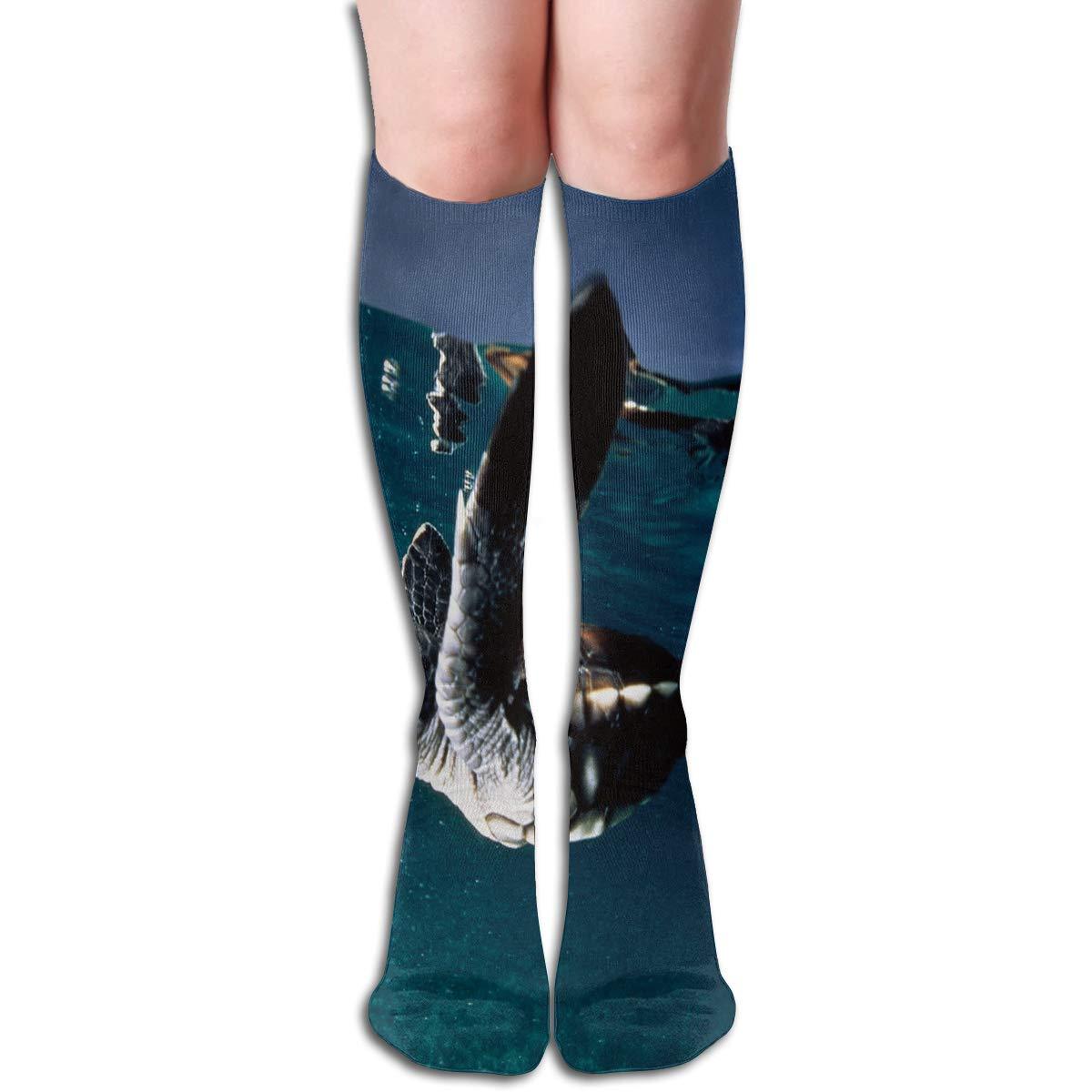 Girls Socks Mid-Calf Turtle In The Waves Winter Designer For Festive