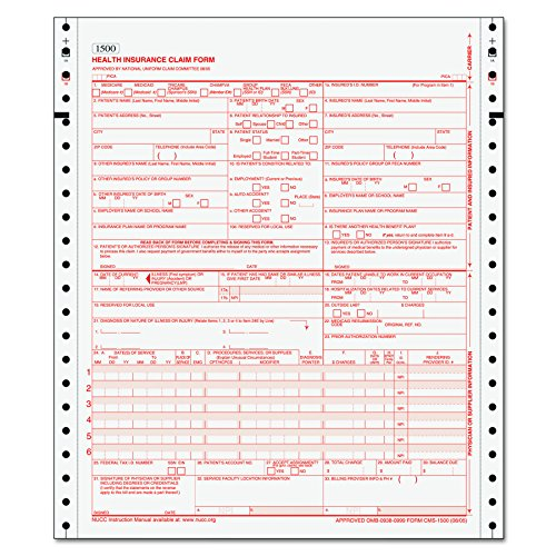 TOPS 50124RV Centers for Medicare and Medicaid Services Forms, Two-Part (Case of 1500 Forms) by Tops