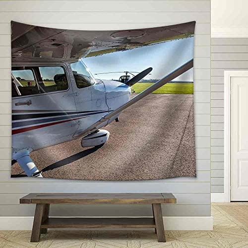 wall26 – Image of a Small Private Airplane Waiting for take Off – Fabric Wall Tapestry Home Decor – 68×80 inches