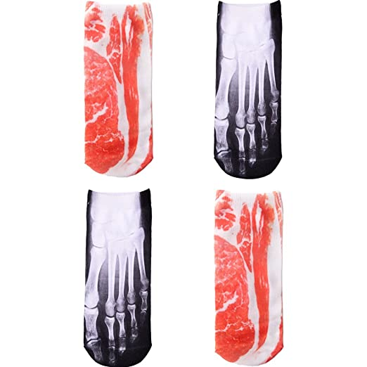 8ecbf343be717 Amazon.com: X-Ray Photo Print Ankle Socks Meat 3D Printing Low Cut Ankle  Sock Fashion Cozy Cotton Socks: Clothing