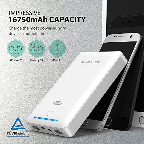 RAVPower 16750mAh 45A twice USB benefits moveable Charger External Battery Pack strength Bank with the help of iSmart systems White moveable strength Banks