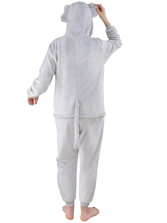 M Unbekannt Damen Fleece Einteiler Nachtw/äsche Pyjama Kost/üm Kapuze Elefant grau Gr