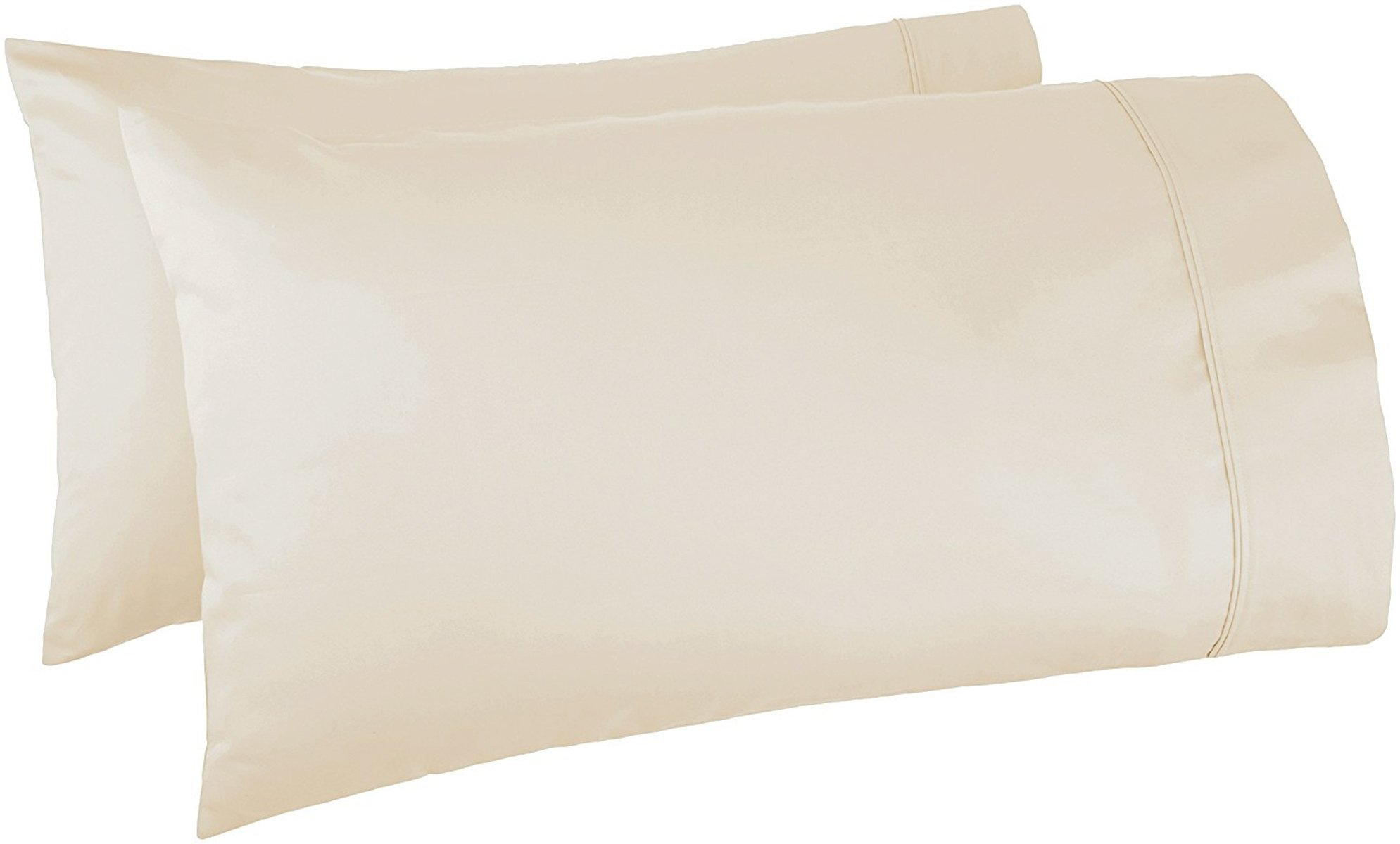 Kaveri Home 100% Egyptian Cotton Organic 1000 Thread Count All Season 2 Piece Hotel Collection Pillow Case Standard Size Washable and Removable (20'' x 30'') Light Beige.