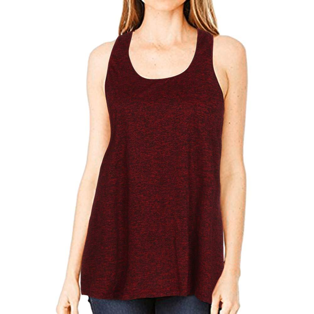iLUGU Women Sleeveless Sport Yoga Solid Flowy Racerback Vest Top Tank Blouse Cami Square Neck Red