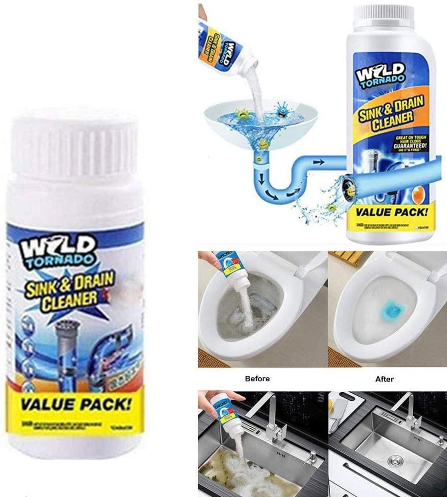 Powerful Sink and Drain Cleaner Chemical Powder Agent, Hair & Grease Clog Remover | Drain Opener | Drain Cleaner | Toilet Clog Remover (1 Pack)