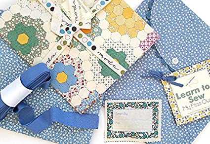 Amazon Learn To Sew My First Quilt Kit Blue Moda Fabric