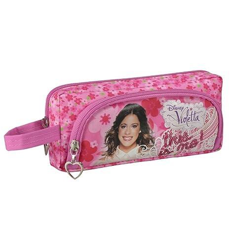 Estuche Portatodo Escolar Violeta Disney Dople Cremallera Rosa Flores 20x8x5cm