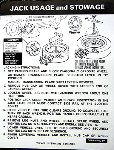 (1972 FORD MUSTANG CONVERTIBLE JACKING And STOWAGE INSTRUCTIONS DECAL - STICKER)