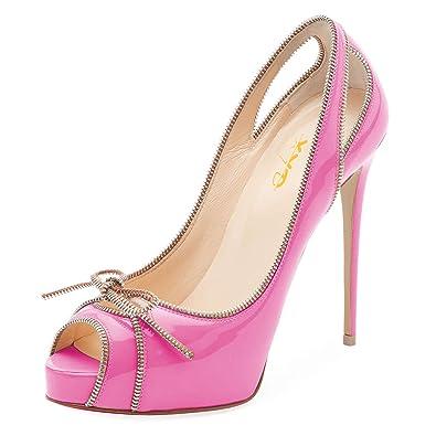 cd9b55646140 XYD Women Peep Toe Platform Pumps Cute Bows Stiletto High Heel Cutout Slip  On Zipper Decor