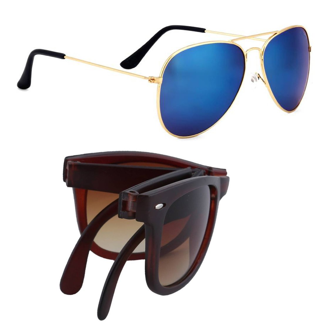 Elligator Stylish Aviator Mirrored Unisex Sunglasses Combo