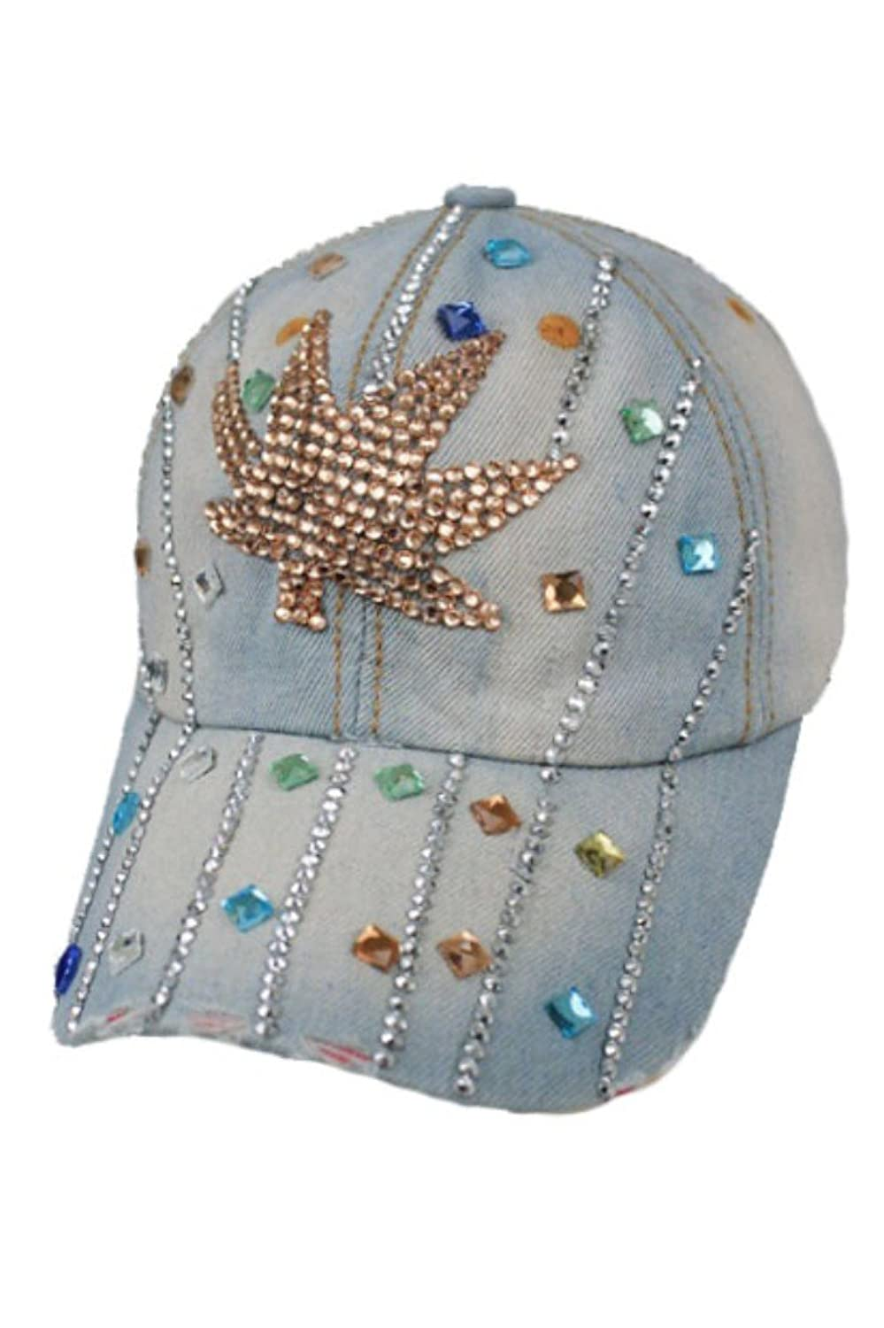 Light Denim Marijuana Weed Pot Leaf design Gold Studs Denim Washed Cap Hand-Made""