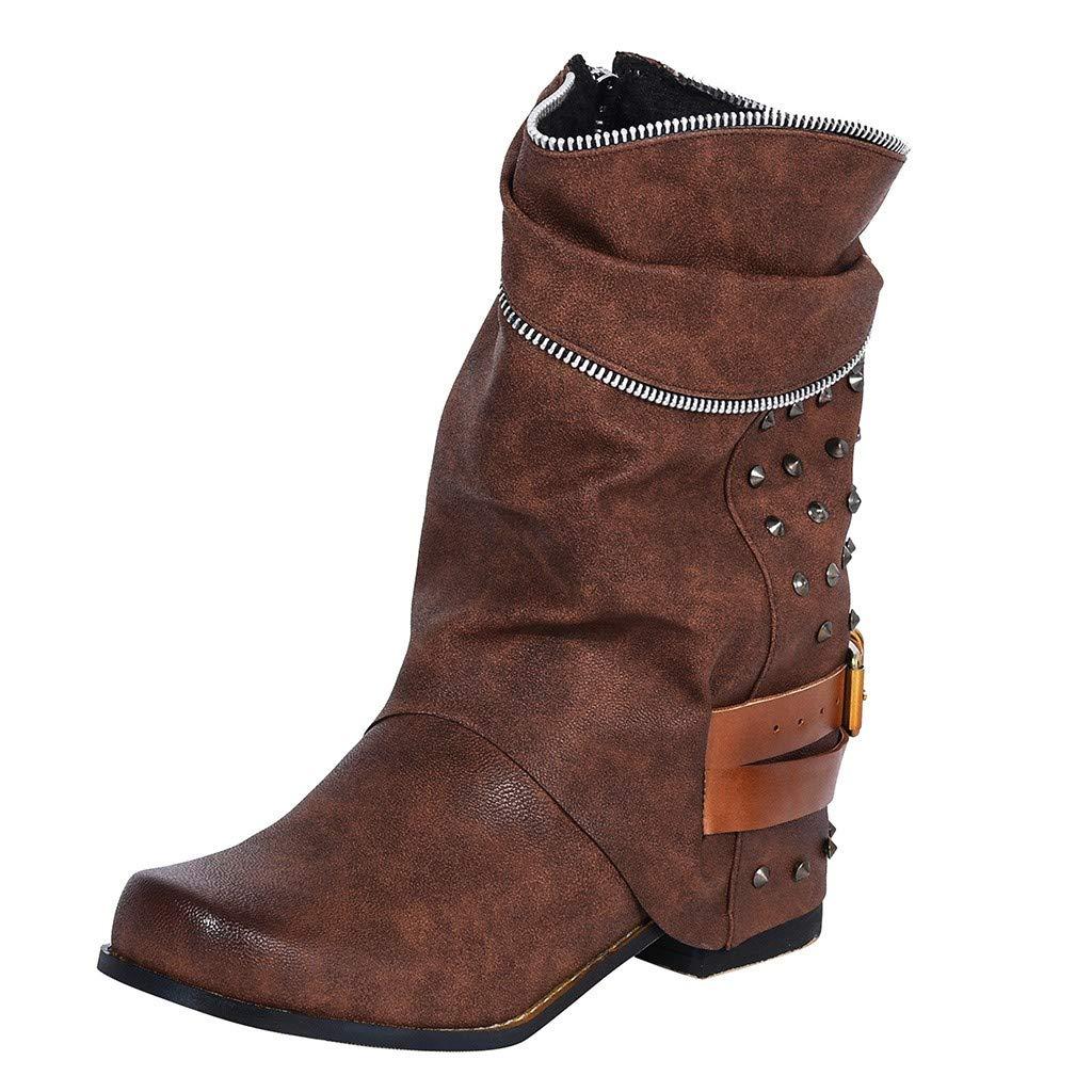 Dainzuy Women Motorcycle Boots Combat Ankle Rivet Retro Pleated Zipper Belt Boots Low Block Heels Biker Shoes Brown by Dainzuy Women's Shoes