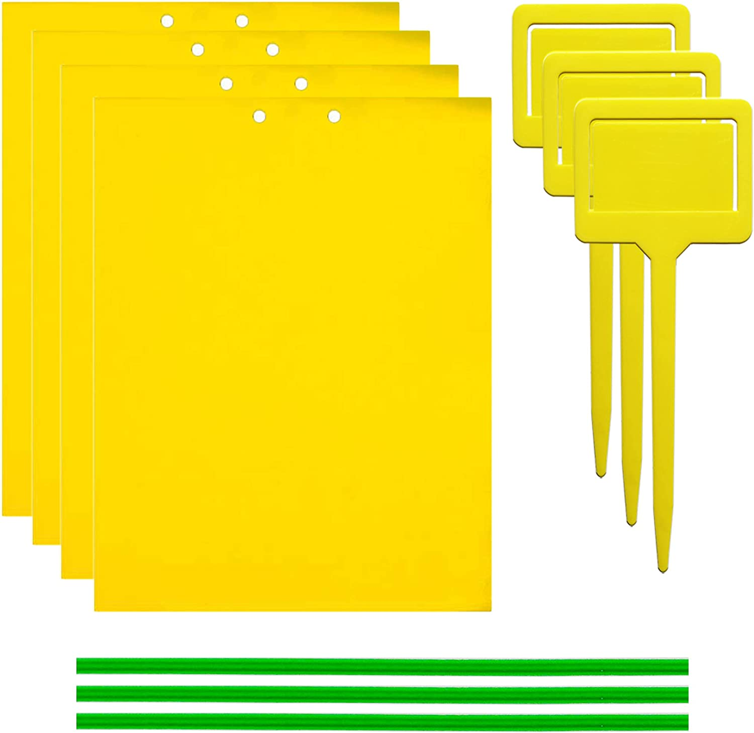 50 Sheets Yellow Sticky Traps, Fruit Fly Traps, for Indoor and Outdoor, Include Twist Ties and Plastic Holders