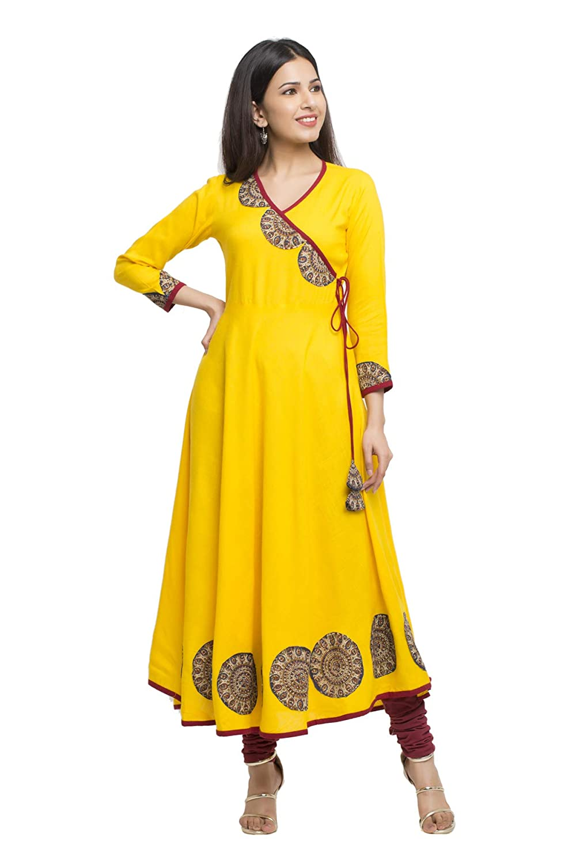 Women's Cotton Slub Angrakha Style Anarkali Kurta