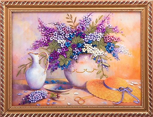 Ribbon Embroidery Kit For Beginner Flower Design DIY Home Wall Decor Violet Lilac