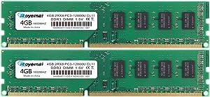 ROYEMAI DDR3 8GB Kit(2X4GB), PC3-12800U 8GB 1600MHz RAM 4GB DDR3 2Rx8 240-pin Dimm CL11 1.5V Desktop RAM Memory Module