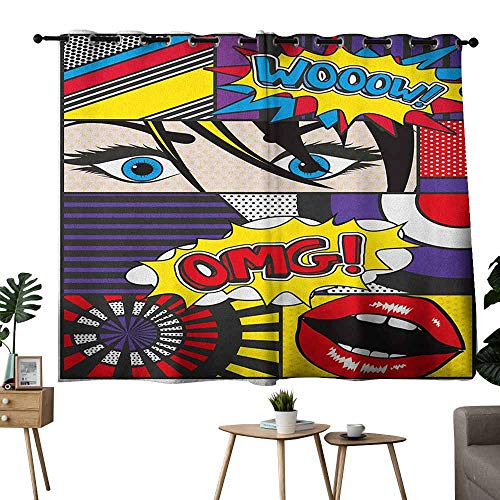 Zmlove Heat Insulation Curtain Art Comic Book Inspired Style Wooow OMG Eyes Reading Panels Lines Excitement Action Print Multicolor Light Blocking Drapes with Liner W55 ()