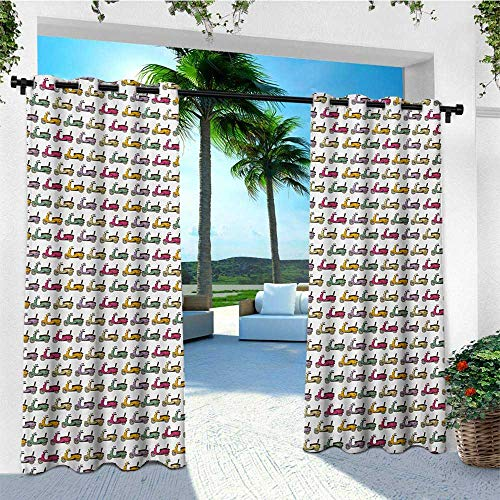 leinuoyi Motorcycle, Outdoor Curtain Extra Wide, Cartoon Style Scooters with Seatbacks and Round Mirrors Showing Off in Parade, Fabric W120 x L108 Inch Multicolor