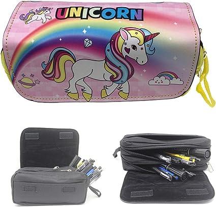 Estuche de unicornio para niña, bonito estuche de unicornio escolar para niños y niñas, 2 compartimentos, estuche para lápices o bolígrafos, color c 22 * 10 * 7cm: Amazon.es: Oficina y papelería