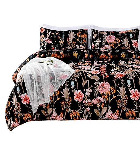 SexyTown Lightweight Black Floral Comforter Set Queen Ultra Soft Bedding for Girls/Women Reversible Flower Printed Colorful Comforter Machine Washable