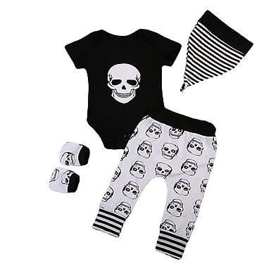 Oyedens Vêtements Mixte Bébé Naissance Hiver Body Bébé Garçon Manche Longue  Combinaisons Halloween Squelette Haut Fille eea7342019cd