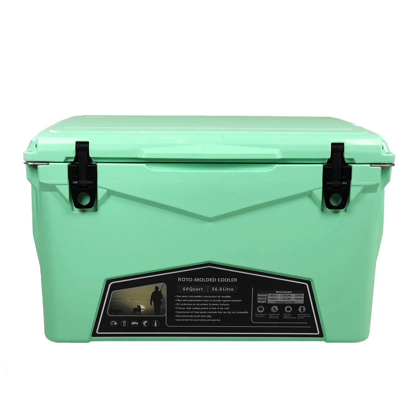 Xspec 60QT Quart Rotomolded High Performance Cooler Pro Tough Outdoor Ice Chest, Durable Stylish Roto-Molded with Bottle Openers, Vacuum Release Valve, and Low Profile Snap Tight Latches