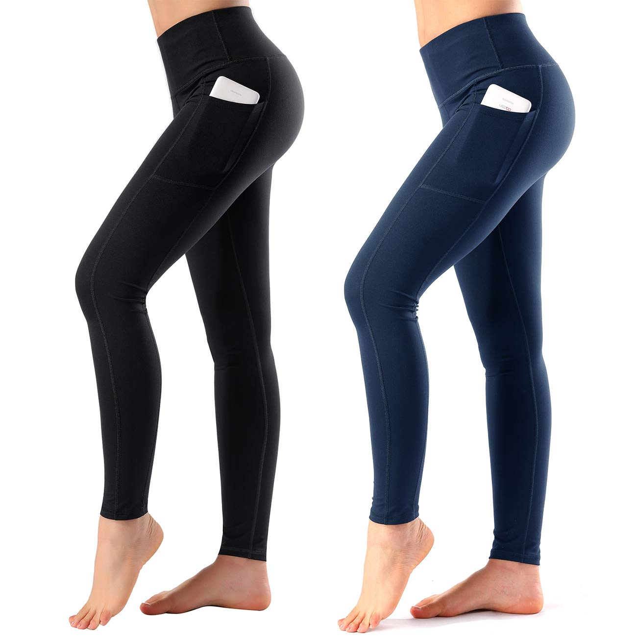 9841 Black+purplish bluee High Waist Yoga Pants with Side & Inner Pocket Sports Leggings Tummy Control
