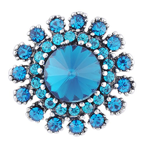 Vocheng 18mm 2 Colors Snap Aria Rhinestone Jewelry Vn-1100 Pack of 2pcs (B)