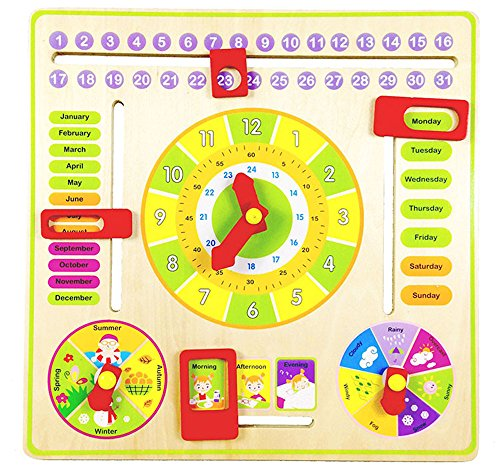 Elloapic Wooden Tablet for Kindergarten Kids to Learn Calendar, Time, Date, Weekdays, Weather and Seasons