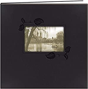 Pioneer 12-Inch by 12-Inch Embossed Leatherette Postbound Memorybook with Window, Black with Ivy