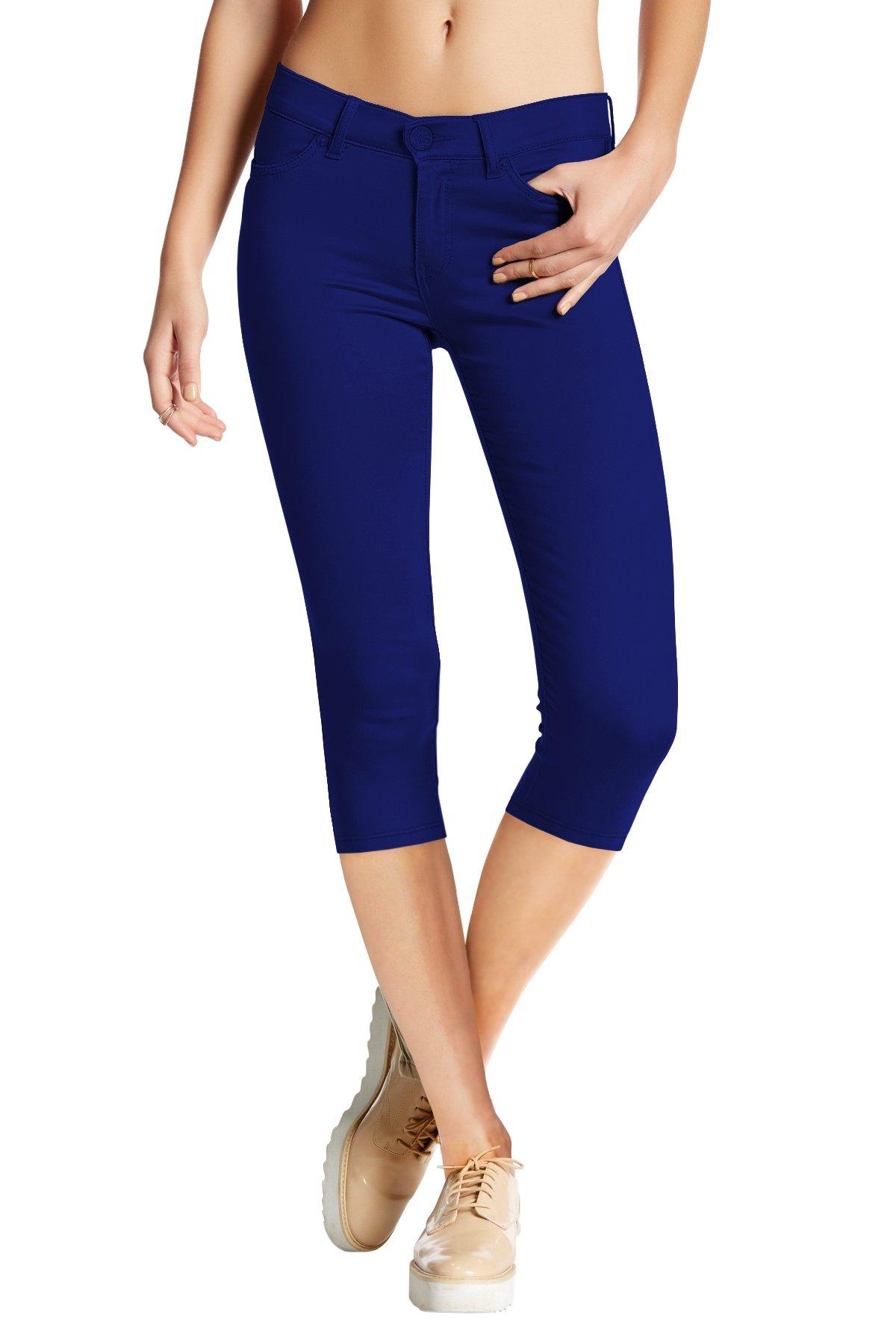 Women's Hyper Stretch Denim Capri Jeans Q44876 Royal Large