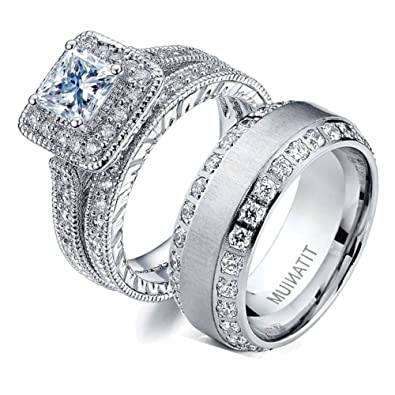 Amazon Com Gy Jewelry Two Rings His And Hers Wedding Ring Sets