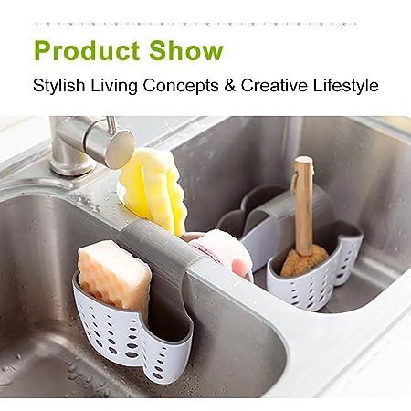 sunnymi Küche Ablaufkorb ? Spülschwamm aus Kunststoff Für Küchen-Plastikablagekörb (14.5*14*12.4cm, Weiss)