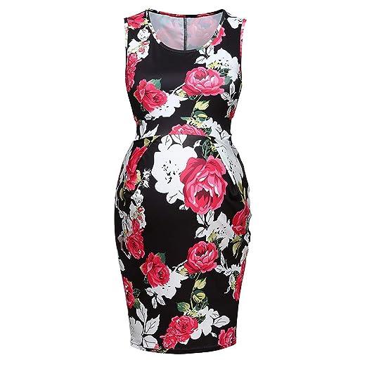 3ba7f05cf08bc Amazon.com: Elegant Pregnant Dress for Women Floral Sleeveless Bodycon  Comfy Maternity Nursing Dress: Clothing