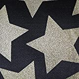 5 Yds Glitter Stars Print Grosgrain Ribbon, 3 Inch Black / Gold and One Ft Custom Print