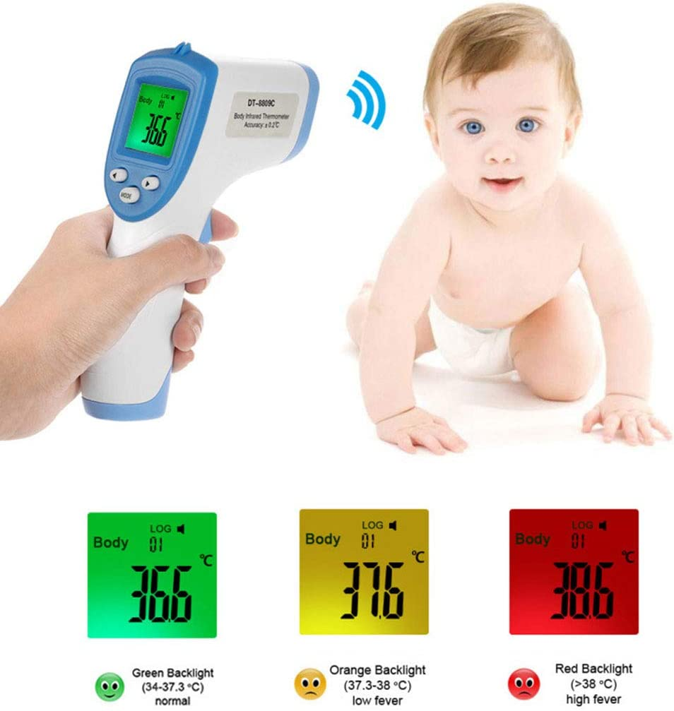 BASSK Digital Thermometer Baby Temperature Measurement Meter Warning Alarm Portable Travel LCD Touchless IR Red Infrared Beam Electronic Thermometer