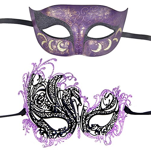 One Pair Couple's Gorgeous Venetian Masquerade Masks Party Costumes Accessory (Purple) -
