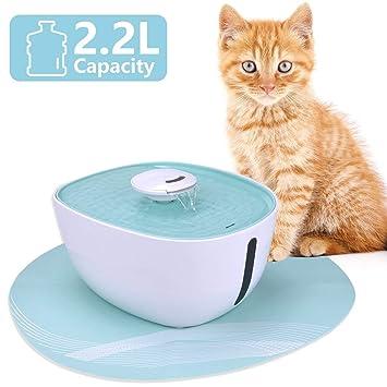 Iseebiz Fuente para Gatos/Perros, Bebedero Automatico con 2.2litro Circulante para Mascota con Estera de Silicona Sin Ruido: Amazon.es: Productos para ...