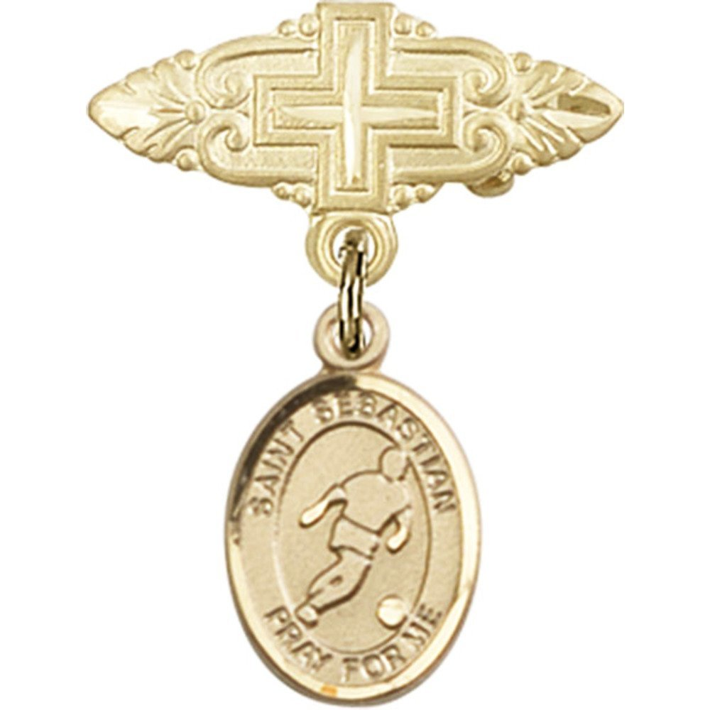 14kt Yellow Gold Baby Badge with St. Sebastian/Soccer Charm and Badge Pin with Cross 1 X 3/4 inches