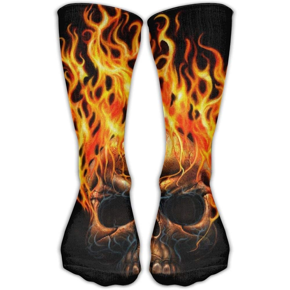 Fire Skull Novelty Cotton Crew Socks Casual Ankle Dress Socks For Men&Women loejrfw