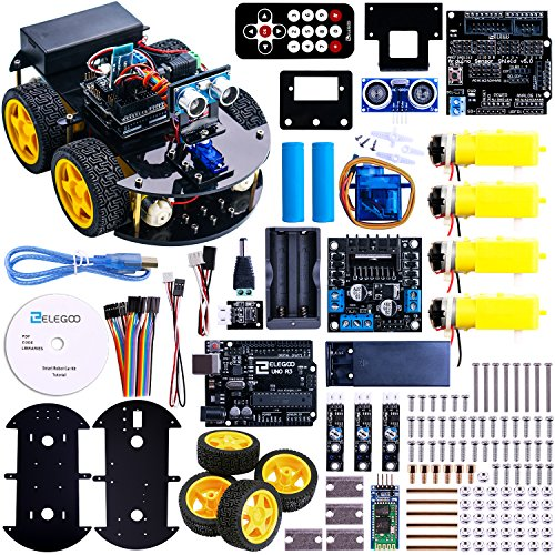 Elegoo UNO Project Smart Robot Car Kit with Four-wheel Drives, UNO R3, Link Tracking Module, Ultrasonic Sensor, Bluetooth module, Remote, ect. Newest Intelligent and Educational Toy Car for Kids