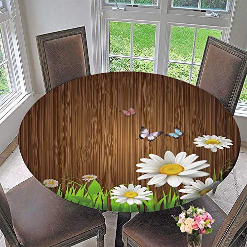 Simple modern round table cloth Antique Old Planks American Style Western Rustic Wooden and white daisies, grass and butterflies for daily use, wedding, restaurant 40